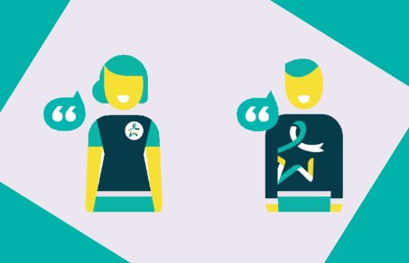 Graphic of woman and man chatting wearing teal and yellow t-shirts