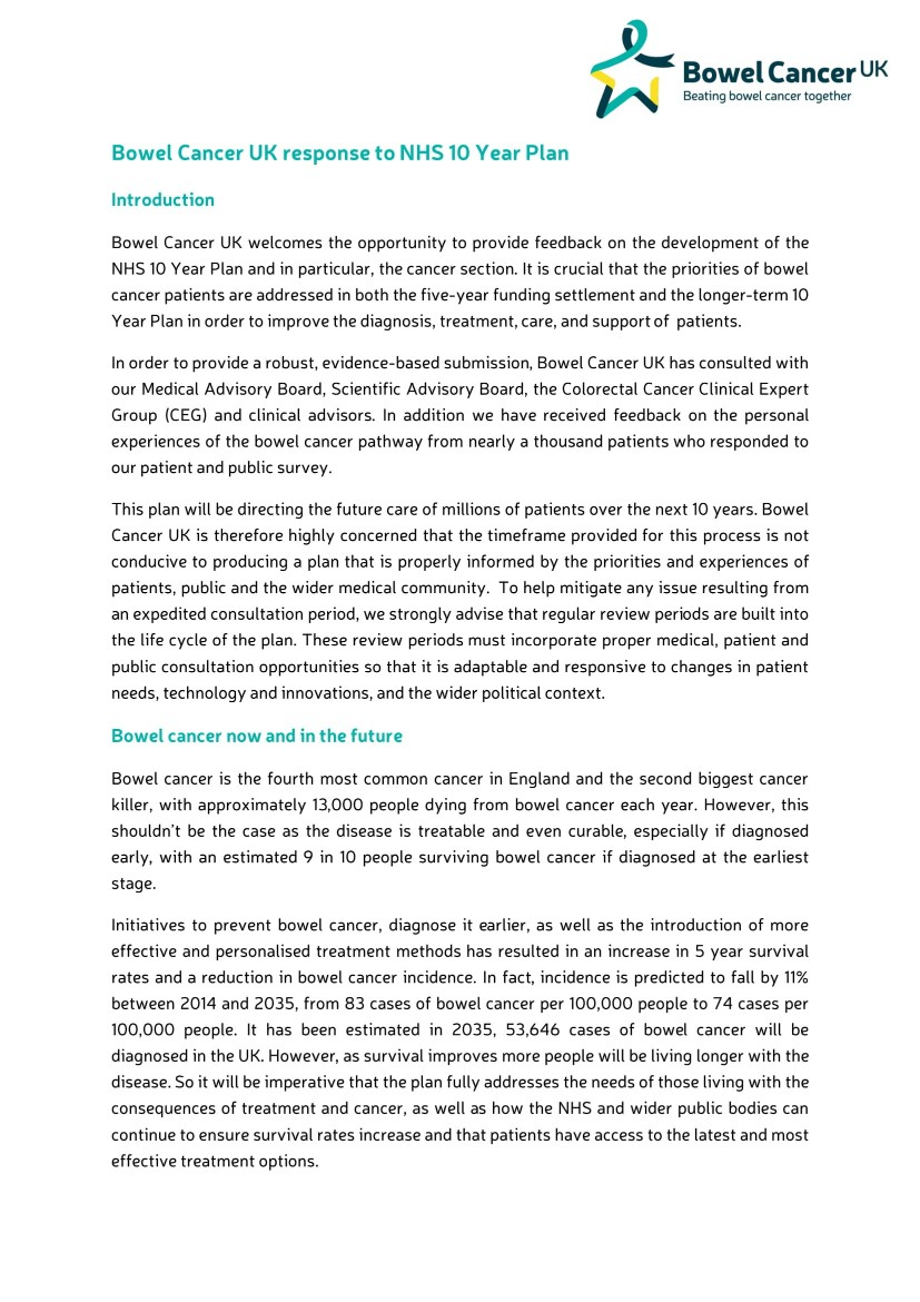 Our response to the NHS 10 year plan