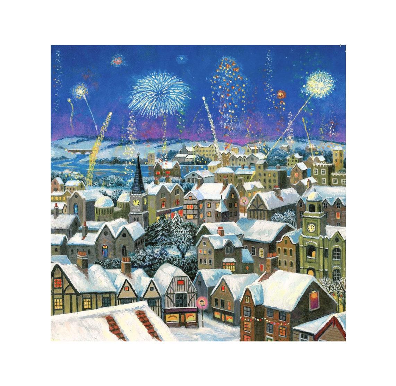 Christmas card – Fireworks Over Village