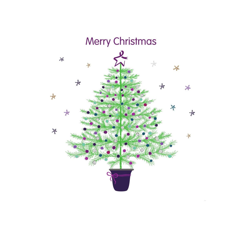 Christmas card - Merry Christmas Tree and Stars